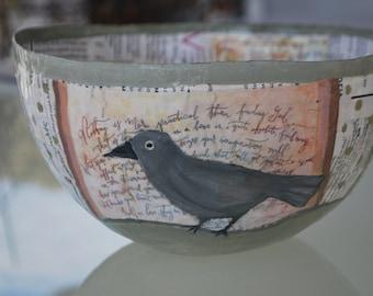 Papier mache bowl (Bird)