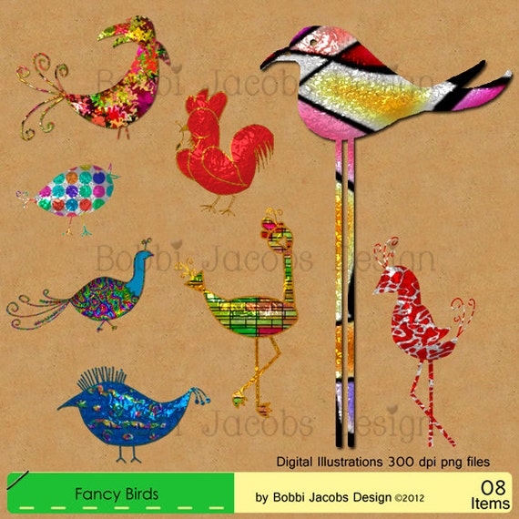 Clip Art, Digital Illustrations, Drawings, High Res, Royalty Free, Fancy Party Birds