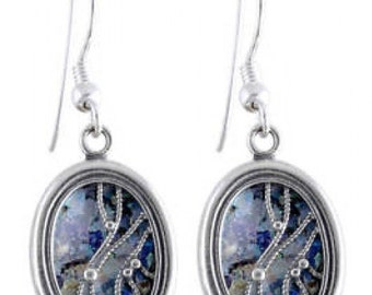 Exclusive Dangle Earrings, 925 Sterling Silver Earrings, Ancient Roman Glass Earrings, Woman Earrings, OOAK