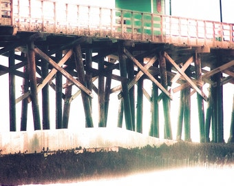 "Pier Photography-Ocean-Calming-California-Beach Photography-Turquoise-Whimsical-Vintage Style-8x10 Photograph-""Pier Journeys"""