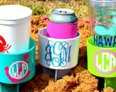 Set of 10 Monogram Beach Spike Beverage Holder