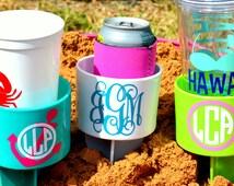 Set of 4 Monogram Beach Spike Beverage Holder