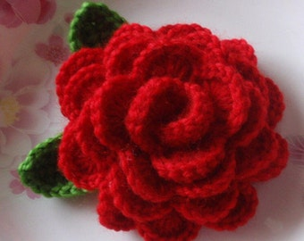 Crochet Flower ( 3-1/2 inches) With Leaves  YH-125