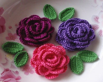 3 Crochet  Roses With Leaves YH - 138-12