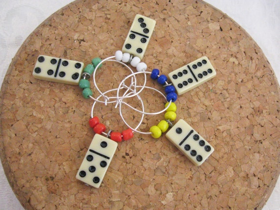 Domino Wine Charms - Vintage Domino game pieces with color block beads