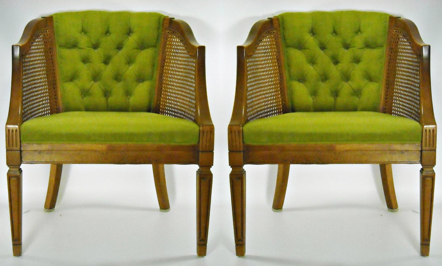 Wonderful image of Mid Century Chair Pair Cane Barrel Back Tufted by silverbranchhome with #4F5D0B color and 1500x904 pixels