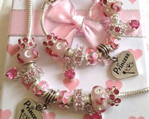 girls childrens pink luxury charm bracelet in gift box
