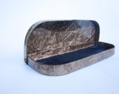 Brown plastic vintage glasses case, spectacles case, made in Soviet Union, USSR in 1970s
