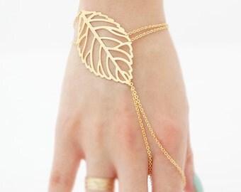 Veiny Leaf Index Finger Slave Bracelet, Bridal Bridesmaids Gladiators Bracelet Hand Bracelet Finger Bracelet Slave Bracelet