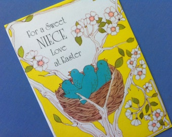 Fun Vintage Greeting Card NIECE EASTER Baby Birds