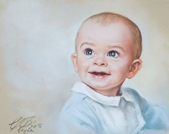 Small Size Pastel Portrait Painting, baby portrait