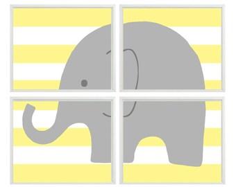 Nursery Art Elehant Print Set - Yellow Stripes Gray Decor - Children Kid room - Neutral Baby Wall Art Home Decor -