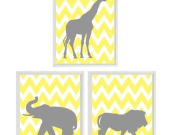 Nursery Art Elephant Giraffe -Chevron Yellow Gray Decor , Baby Nursery Decor,  Zoo Jungle Nursery Art Print,  Safari Animal Nursery Wall Art