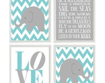 Elephant Nursery Art, Baby Boy Nursery Prints, Chevron Elephant, Gray Aqua Nursery, Wall Art, Love Print, Boy Rules Quote, Nursery Decor