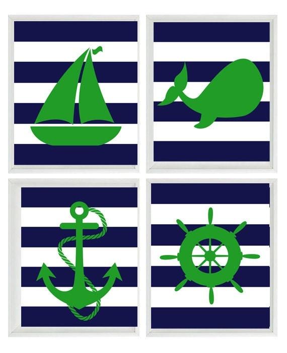 Navy Blue And Green Wall Decor : Nautical nursery art print set green navy blue stripes decor
