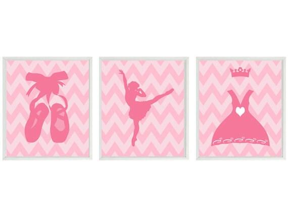 Ballet Art Print Set - Pink Chevron Nursery Ballerina Girl Room Tiara Tutu Slippers - Wall Art Home Decor    Prints