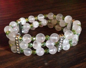 Rose quartz and peridot bracelet
