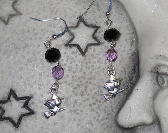 Witchy Poo Cute witch on broomstick with black&purple crystal charm earrings