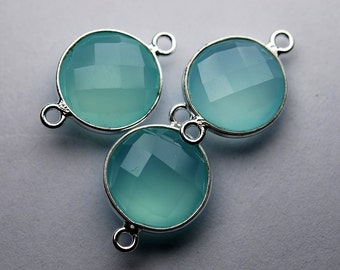 925 Sterling  Silver, AQUA Chalcedony Faceted Coins Shape Connector ,4 Piece of 18mm