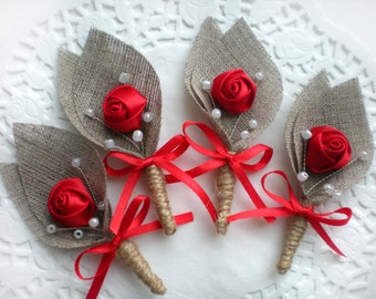 Set of 4- RED Flower burlap Boutonniere (buttonhole)