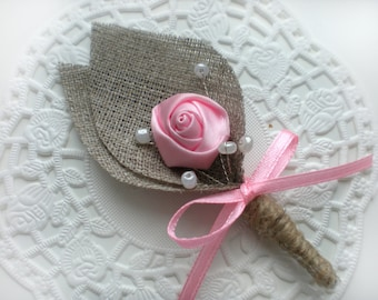 Burlap Groom's Boutonniere for Wedding Rustic Bout with PINK Flower- PINK Flower burlap Boutonniere (buttonhole)