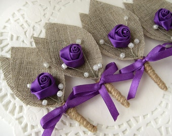 Set of  8- Purple Flower burlap Boutonniere (buttonhole)