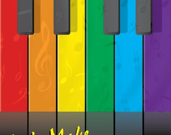Let's Make Music Together rainbow piano greeting card