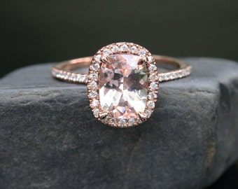 Morganite Diamond Halo Engagement Ring in 14k Rose Gold, Morganite Cushion 9x7mm and Diamond Ring (Also available in 18k Gold)