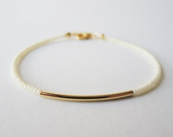 Ivory gold bar beaded bracelet - friendship bracelet - Gift for her under usd 15