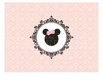 "Vintage Minnie Mouse Printable Backdrop 48"" x 36"", Digital, DIY, Instant Download"