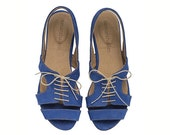 Shirley, Royal Blue, Sandals, Flat Leather Sandals - TamarShalem