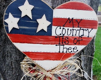 Patriotic Flag in Heart Shape - Wood Yard Stick - Sign - 4th of July Decoration
