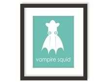 Vampire Squid Nursery Art Print in Aqua Blue, Sea Monster, Modern Nautical Decor, Deep Sea Creatures, Ocean Kids Wall Art