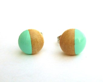 Turquoise earrings, wood stud earrings, mint green earrings, pastel earrings, dipped wood, spearmint,