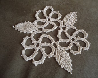 Vintage Hand crocheted doily in Ecru