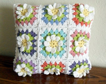Crochet / Spring Flowers Colorful Cushion Cover