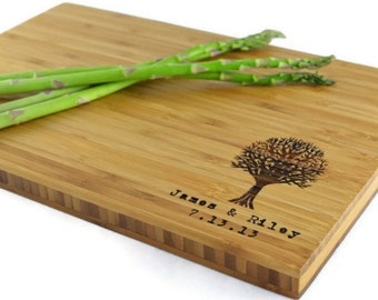 "Personalized Cutting Board ""Modern Tree in Corner""  Bamboo Wood for Wedding or Anniversary gift"