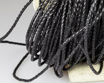 2mm Braided Leather Cord, Black Genuine Leather Cord, Round Leather Cord, Pkg of 1 meter, D0F9.BK59.L1M