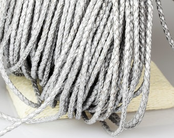 2mm Braided Leather Cord, Silver Leather Cord, Round Leather Cord, Pkg of 1 meter, D0F9.SI06.L1M