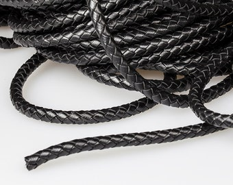 Black Braided Leather Cord, Round 6mm Leather Cord, Genuine Leather Cord, Pkg of 1 meter, D0FB.BK59.L1M