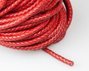 Red Braided Leather Cord, 6mm Round Leather Cord, Genuine Leather Cord, Pkg of 1 meter, D0FB.RE50.L1M