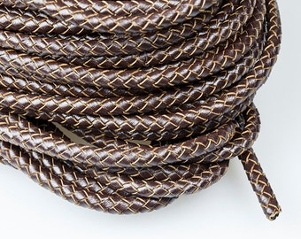 Brown Braided Leather Cord, 6mm Genuine Leather Cord For Leather Bracelet, Round Leather Cord, Pkg of 1 meter, D0FB.BN76.L1M