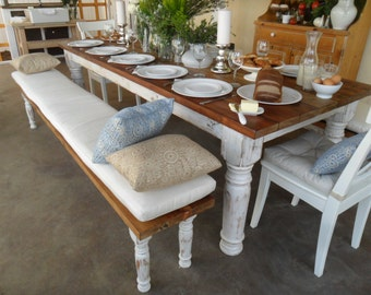 Dining table and benches from RECLAIMED wood.  Made in the USA.