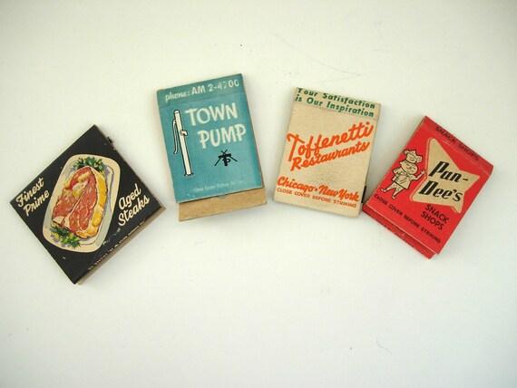 Vintage Matchbook Covers -- Set of 4 -- Midwestern Restaurants