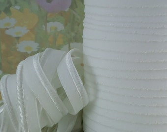5yds White Elastic Piping Ribbon Trim HeadBands Ponytail Hair Ties 1/2 inch FOE White Lip Cord Elastic by the yard
