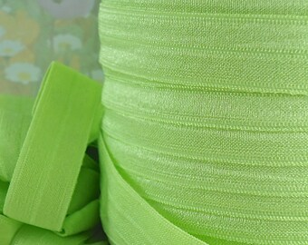 5yds Elastic Ribbon Fold Over HeadBands Hair Ties Ponytail 5/8 inch 15mm FOE Green Elastic by the yard