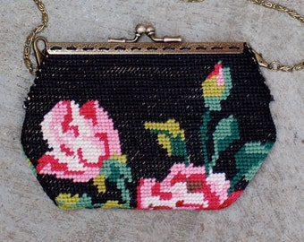 Clutch  vintage and chic up cycling needlepoint