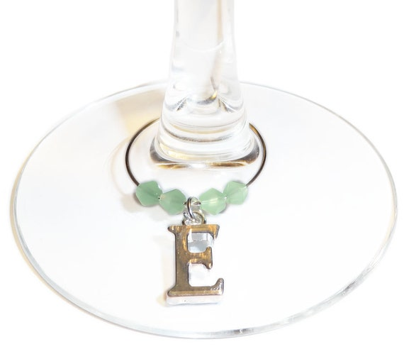 personalized wedding wine charms with an initial charm