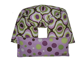 REMOVABLE COVER Neck & Shoulder Wrap - Eye Pillow Gift Set Hot Cold Therapy Pack Flaxseed Your CHOICE of Scent (Feeling Groovy Orchid)