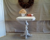 Vintage wood table, painted white, heavily distressed, shabby, farm chic, cottage chic, rustic.